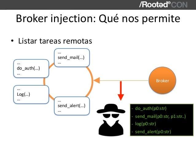 Brokerinjection:Quénospermite • Listartareasremotas send_mail(…) … … Broker do_auth(…) … … Log(…) … … send_alert(…) ...