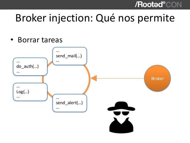 Brokerinjection:Quénospermite • Borrartareas send_mail(…) … … Broker do_auth(…) … … Log(…) … … send_alert(…) … …