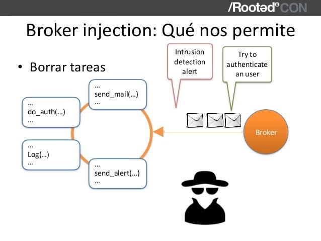 Brokerinjection:Quénospermite • Borrartareas send_mail(…) … … Broker do_auth(…) … … Log(…) … … send_alert(…) … … Intr...