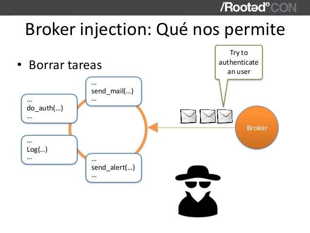 Brokerinjection:Quénospermite • Borrartareas send_mail(…) … … Broker do_auth(…) … … Log(…) … … send_alert(…) … … Try...