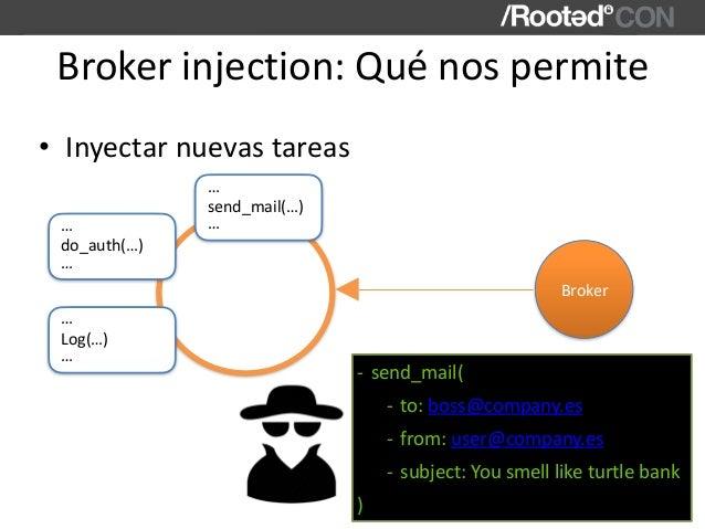 Brokerinjection:Quénospermite • Inyectarnuevastareas send_mail(…) … … Broker do_auth(…) … … Log(…) … … - send_mail(...