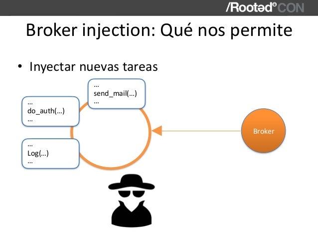 Brokerinjection:Quénospermite • Inyectarnuevastareas send_mail(…) … … Broker do_auth(…) … … Log(…) … …