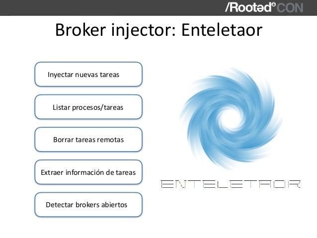 Brokerinjector:Enteletaor Inyectarnuevastareas Listarprocesos/tareas Detectarbrokersabiertos Extraerinformaciónde...