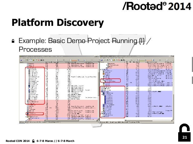 21 Rooted CON 2014 6-7-8 Marzo // 6-7-8 March Platform Discovery !  Example: Basic Demo Project Running (I) / Processes
