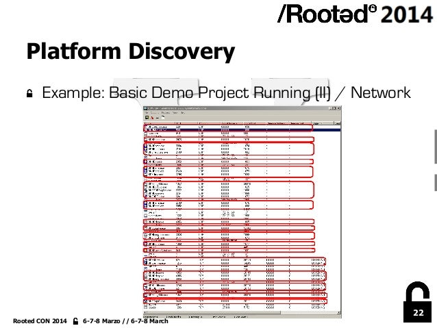 22 Rooted CON 2014 6-7-8 Marzo // 6-7-8 March Platform Discovery !  Example: Basic Demo Project Running (II) / Network