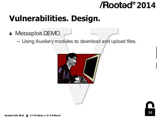 32 Rooted CON 2014 6-7-8 Marzo // 6-7-8 March Vulnerabilities. Design. !  Metasploit DEMO. – Using Auxiliary modules to ...