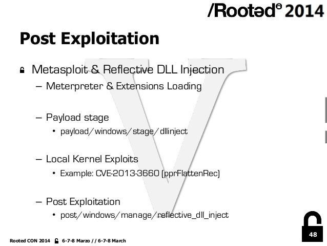 48 Rooted CON 2014 6-7-8 Marzo // 6-7-8 March Post Exploitation !  Metasploit & Reflective DLL Injection – Meterpreter &...