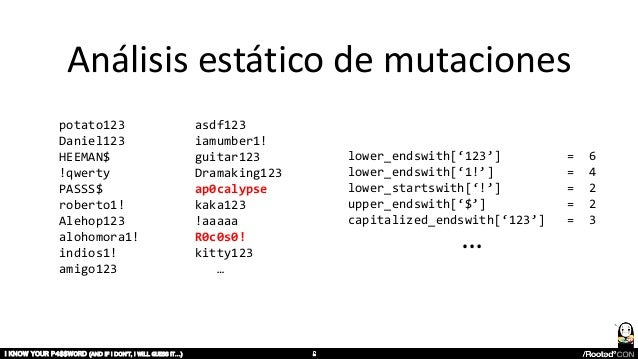 Análisis estático de mutaciones I KNOW YOUR P4$$W0RD (AND IF I DON'T, I WILL GUESS IT…) lower_endswith['123'] = 6 lower_en...