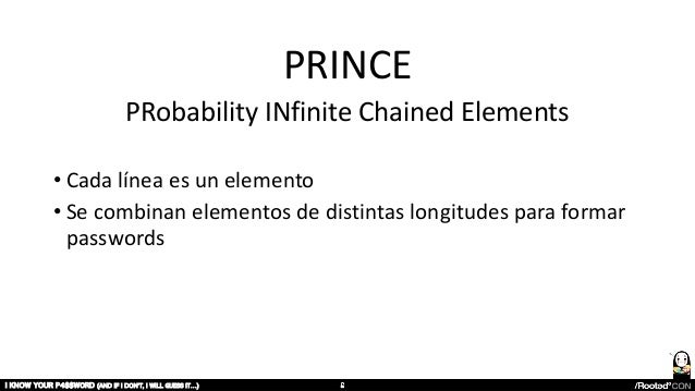 PRINCE PRobability INfinite Chained Elements • Cada línea es un elemento • Se combinan elementos de distintas longitudes p...