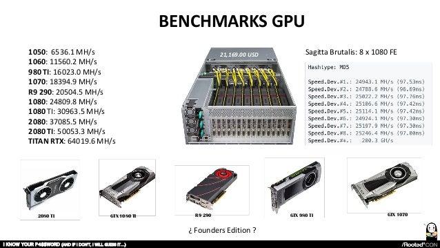 I KNOW YOUR P4$$W0RD (AND IF I DON'T, I WILL GUESS IT…) BENCHMARKS GPU 1050: 6536.1 MH/s 1060: 11560.2 MH/s 980 TI: 16023....