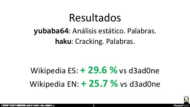 Resultados yubaba64: Análisis estático. Palabras. haku: Cracking. Palabras. I KNOW YOUR P4$$W0RD (AND IF I DON'T, I WILL G...