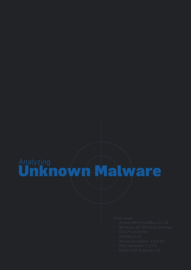 AnalyzingUnknown Malware            Tools used:            • Oracle VM VirtualBox 4.1.16            • Windows XP SP3 fully...