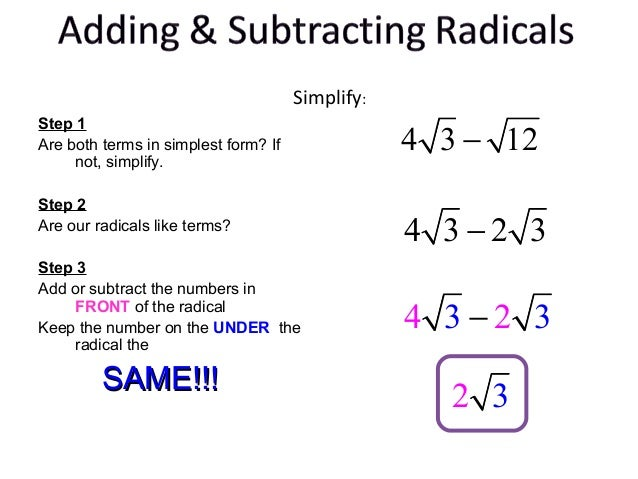 two steps for simplifying radicals Free algebra 1 worksheets created with infinite algebra 1 two-step inequalities simplifying radicals.