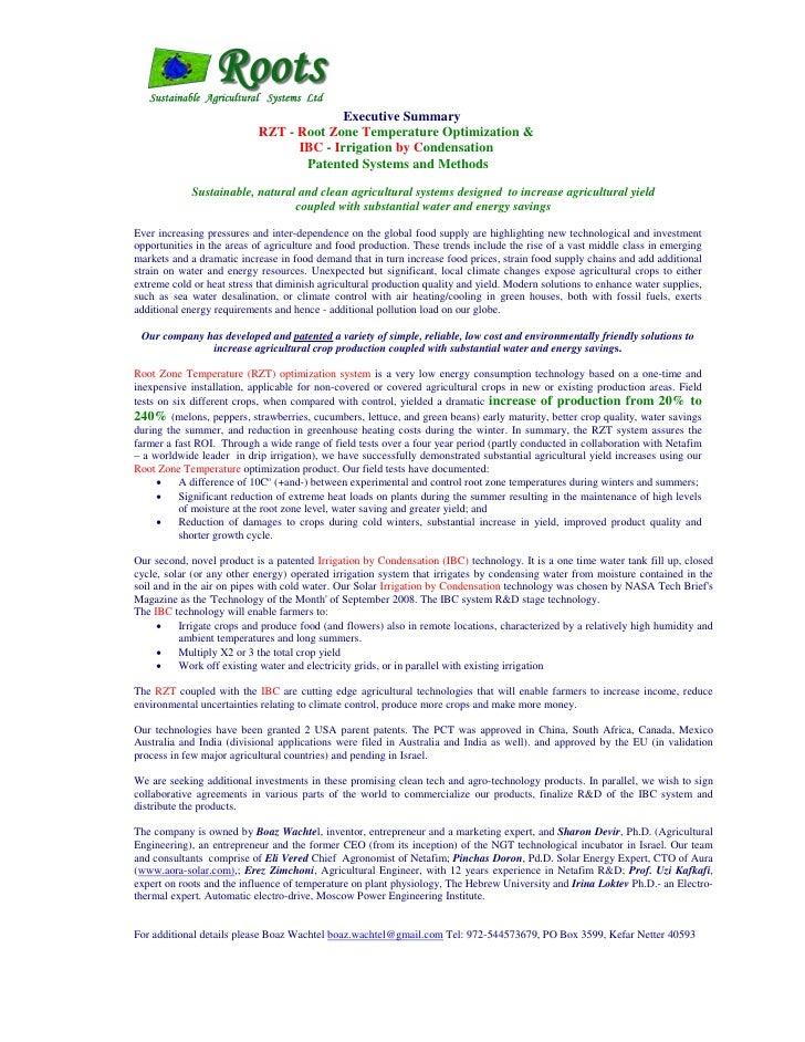 Executive Summary                             RZT - Root Zone Temperature Optimization &                                  ...