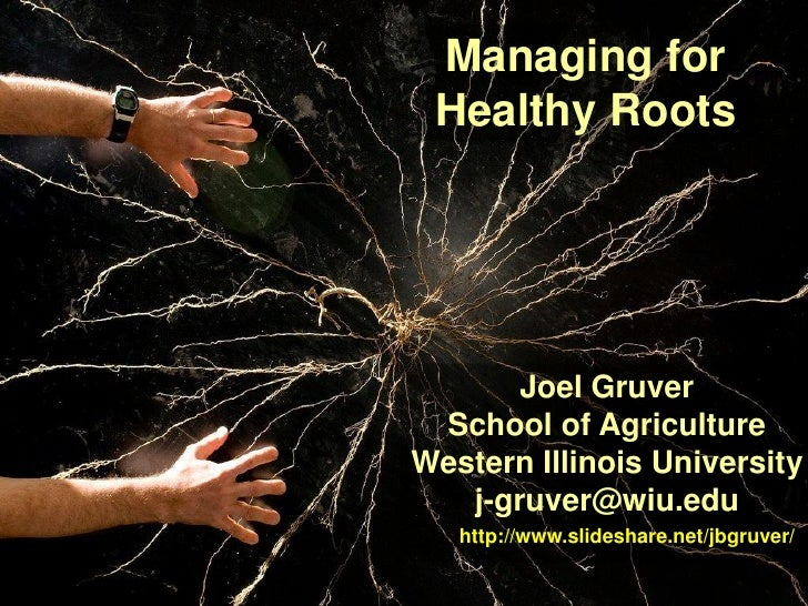 Managing for Healthy Roots       Joel Gruver School of AgricultureWestern Illinois University   j-gruver@wiu.edu   http://...