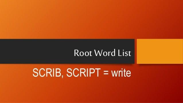 root word list script