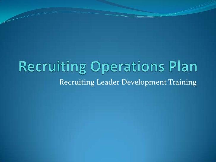 Recruiting Leader Development Training