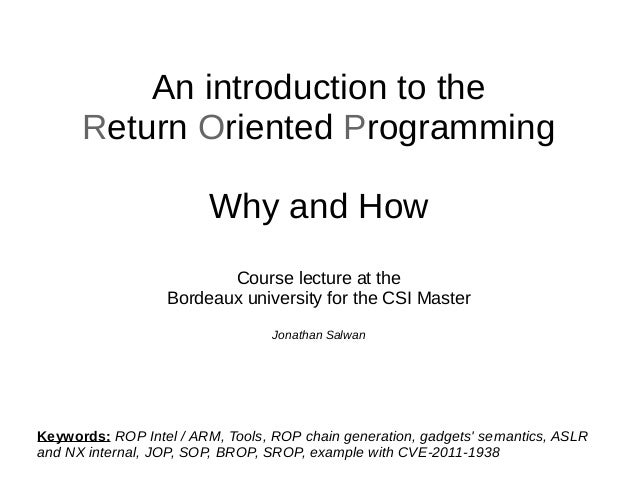 Course lecture - An introduction to the Return Oriented