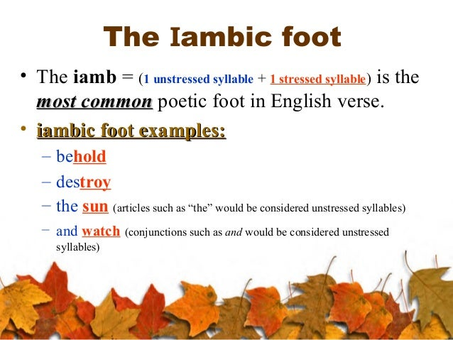 examples of iambs The tempest: prose,rhyme, and blank verse  such an occasional troche mixed in with the iambs or an extra unstressed syllable at the end of a line).