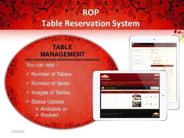 ROP Table Reservation System - Table reservation system