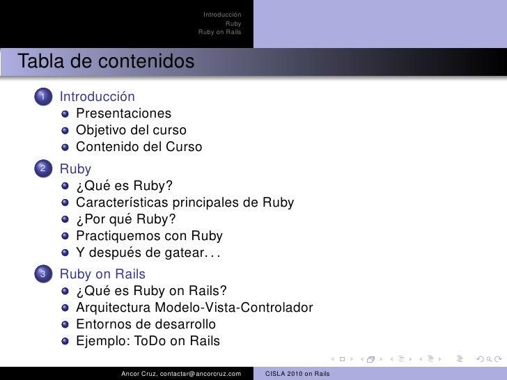 Introduccion al desarrollo de aplicaciones web con Ruby on Rails Slide 2