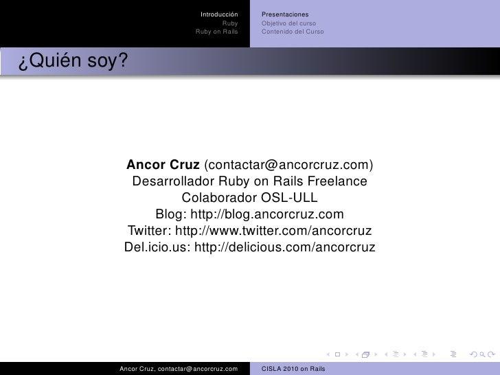 Introduccion al desarrollo de aplicaciones web con Ruby on Rails Slide 3