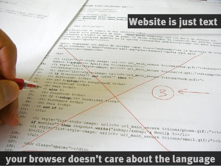 Website is just text     your browser doesn't care about the language