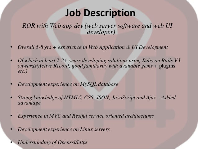 RUBY ON RAILS WEB DEVELOPER JOB