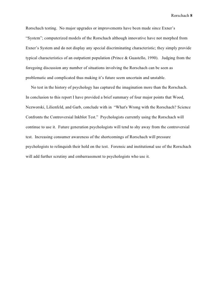 sample rorschach psychological report