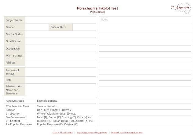 © 2016, M S Ahluwalia | PsychologyLearners.blogspot.com | facebook.com/PsychologyLearners Notes Rorschach's Inkblot Test P...
