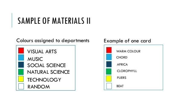 SAMPLE OF MATERIALS II MUSIC VISUAL ARTS RANDOM SOCIAL SCIENCE TECHNOLOGY NATURAL SCIENCE Colours assigned to departments ...