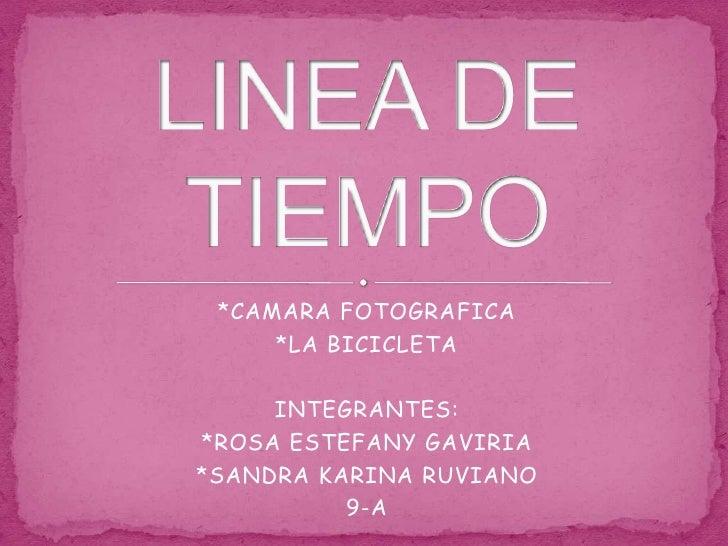 *CAMARA FOTOGRAFICA<br />*LA BICICLETA<br />INTEGRANTES:<br />*ROSA ESTEFANY GAVIRIA <br />*SANDRA KARINA RUVIANO<br />9-A...