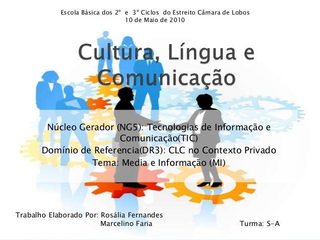 Núcleo Gerador (NG5): Tecnologias de Informação e Comunicação(TIC) Domínio de Referencia(DR3): CLC no Contexto Privado Tem...