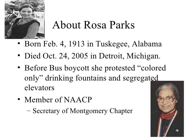 an account of the rosa park boycott in december 1 1955 The montgomery bus boycott the montgomery bus boycott officially started on december 1,1955, when rosa parks was arrested for not giving up her seat to a white man as a result, the blacks of montgomery, alabama, decided to boycott the bus system to make a point that they should be allowed to sit wherever they wanted.