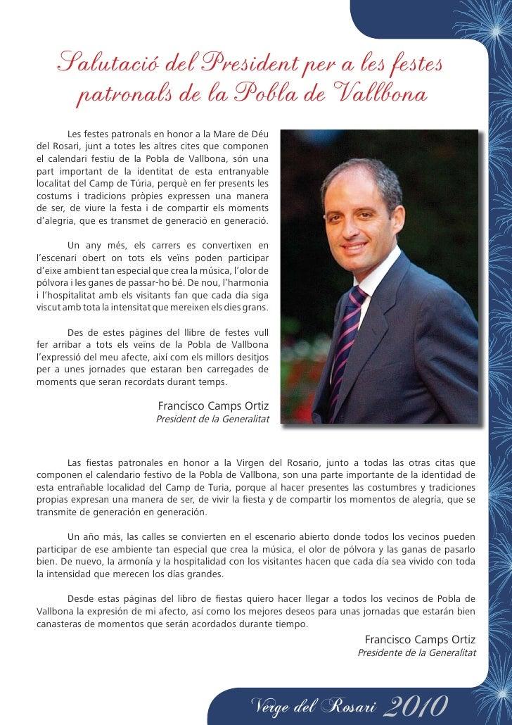 Salutació del President per a les festes        patronals de la Pobla de Vallbona         Les festes patronals en honor a ...