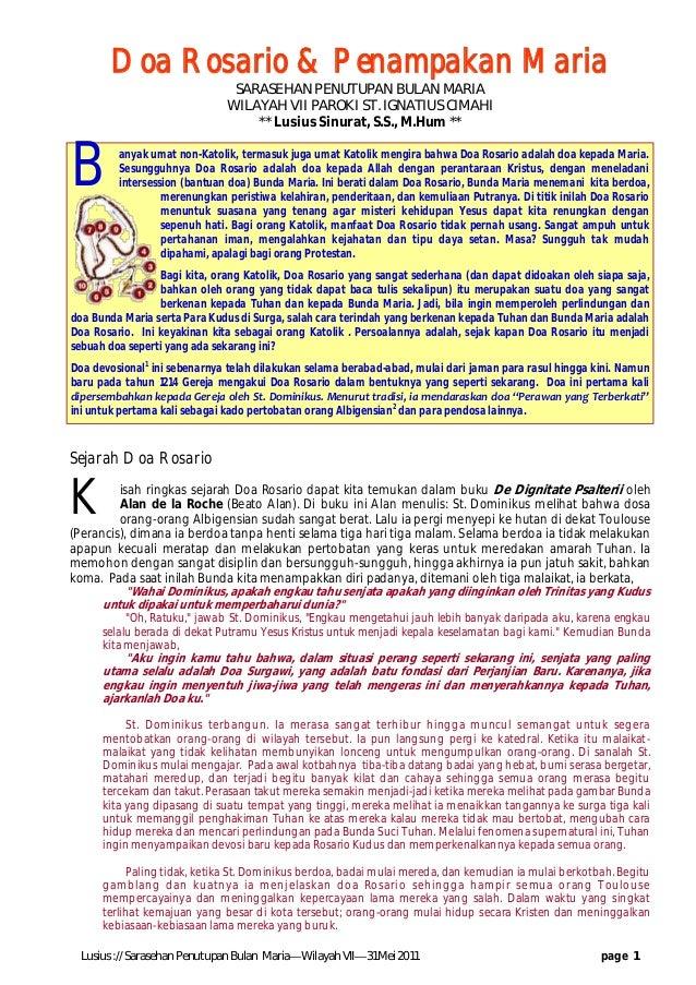 Lusius :// Sarasehan Penutupan Bulan Maria—Wilayah VII—31 Mei 2011 page 1 Sejarah Doa Rosario K isah ringkas sejarah Doa R...