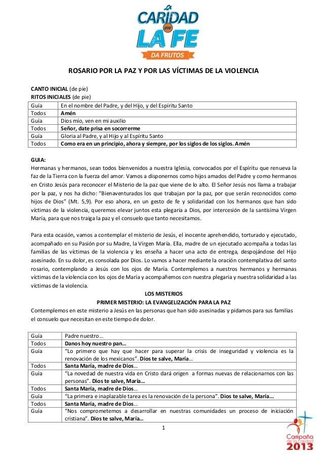 ROSARIOPORLAPAZYPORLASVÍCTIMASDELAVIOLENCIACANTOINICIAL(depie)RITOSINICIALES(depie)G...