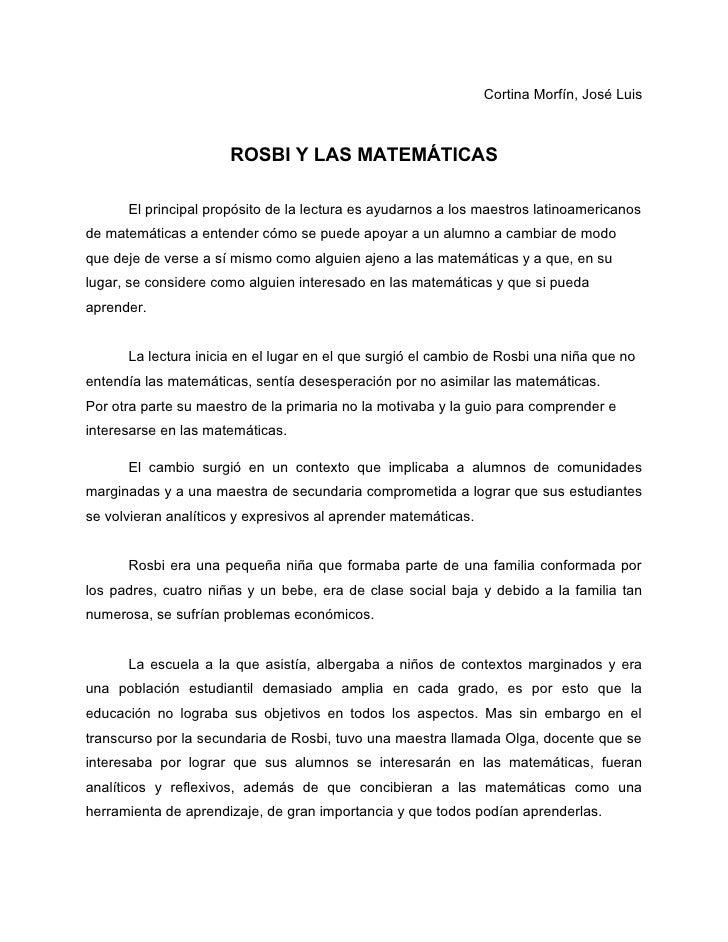 Cortina Morfín, José Luis                      ROSBI Y LAS MATEMÁTICAS      El principal propósito de la lectura es ayudar...
