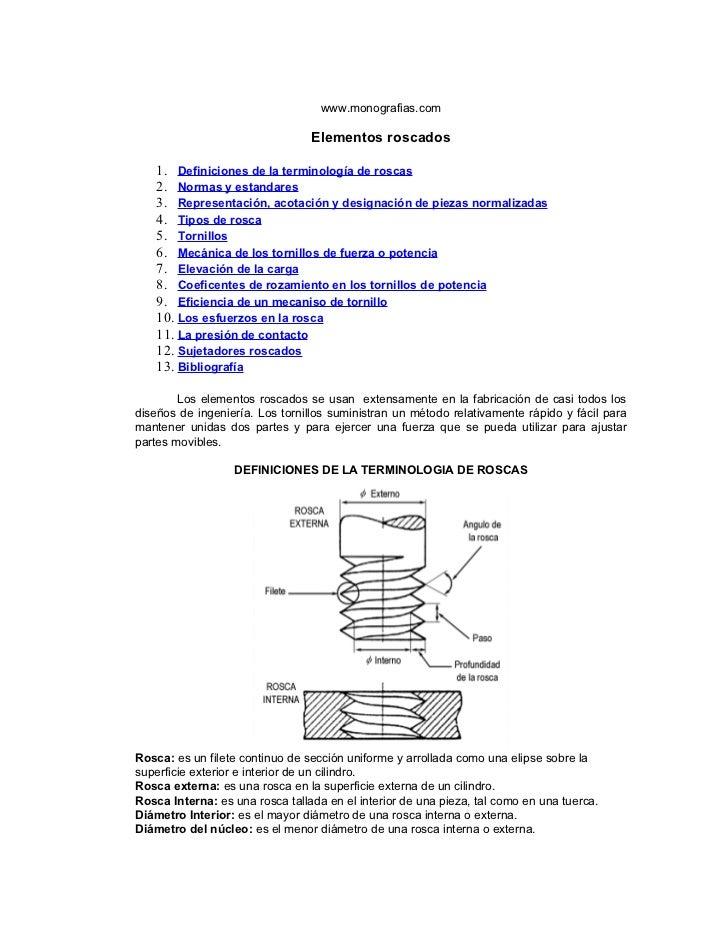 www.monografias.com                                 Elementos roscados    1. Definiciones de la terminología de roscas    ...