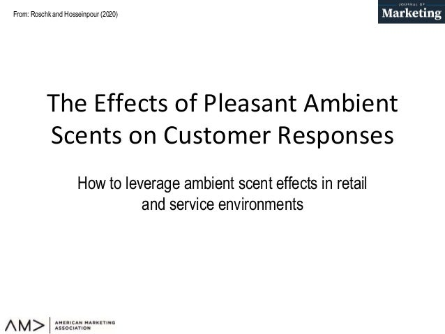 From: Roschk and Hosseinpour (2020) The Effects of Pleasant Ambient Scents on Customer Responses How to leverage ambient s...