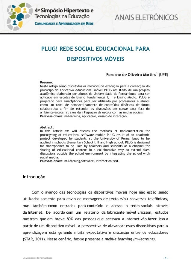 PLUG! REDE SOCIAL EDUCACIONAL PARA                                 DISPOSITIVOS MÓVEIS                                    ...