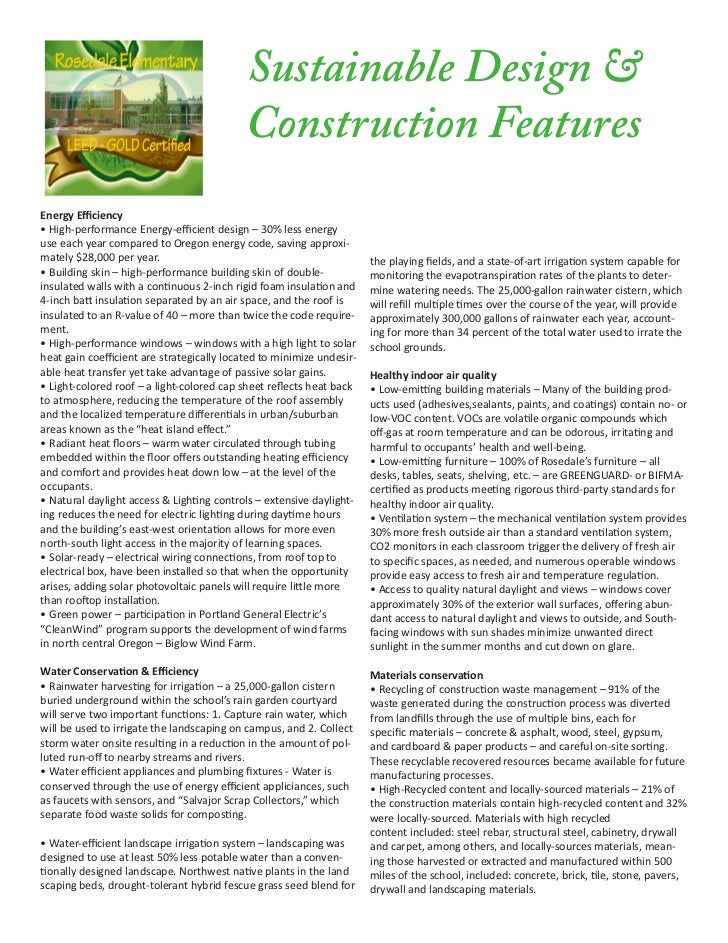 Sustainable Design &                                            Construction FeaturesEnergy Efficiency• High-performance E...