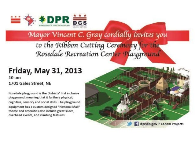 Rosedale Recreation Center Ribbon Cutting Flyer