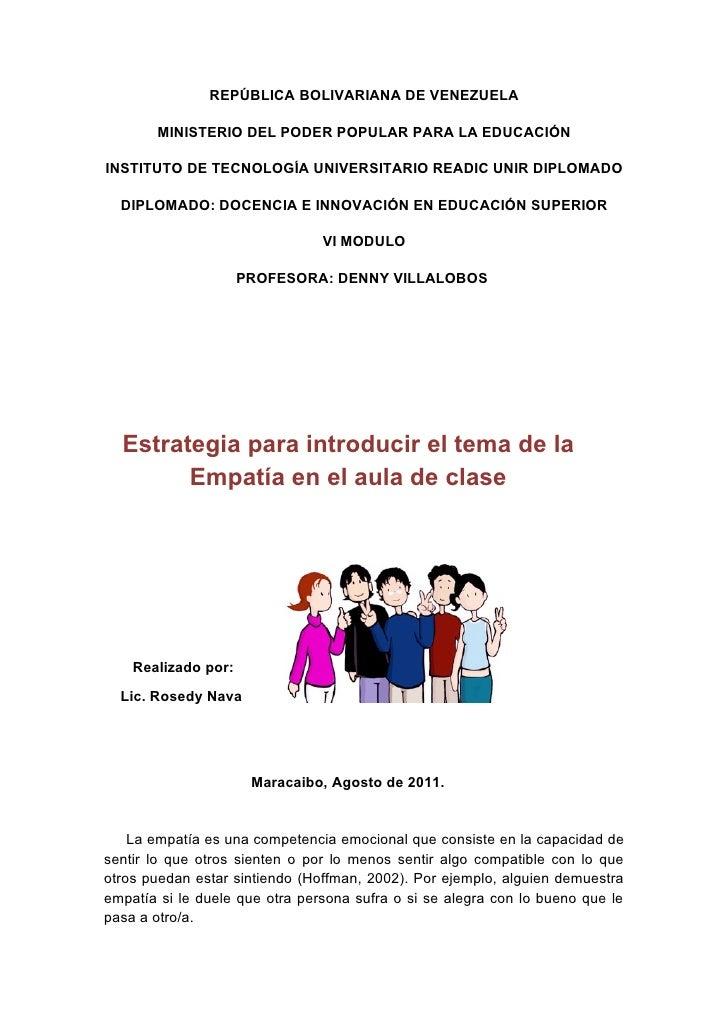 REPÚBLICA BOLIVARIANA DE VENEZUELA       MINISTERIO DEL PODER POPULAR PARA LA EDUCACIÓNINSTITUTO DE TECNOLOGÍA UNIVERSITAR...