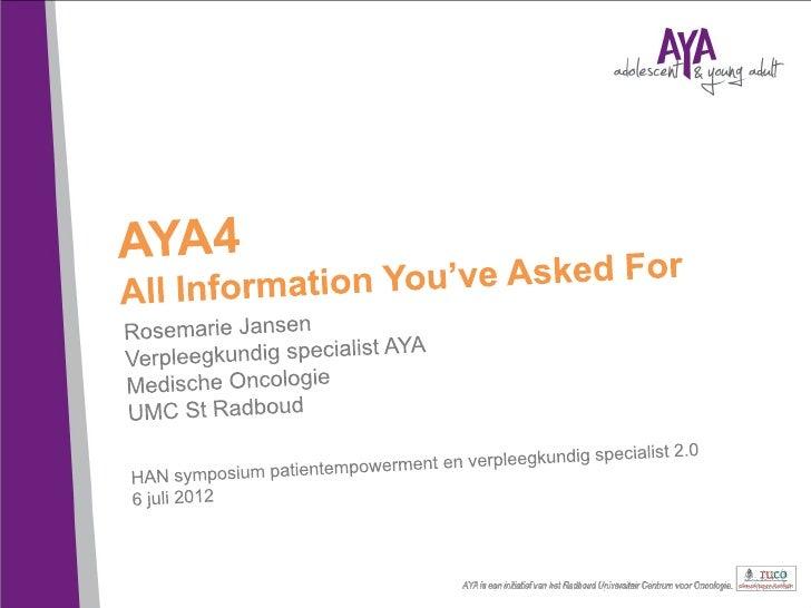 Aangenaam kennis te maken!Adolescent and Young Adult (AYA)  • GB: (TYA, Teenager and Young Adult): 13-24 jaar  • VS: 15-40...