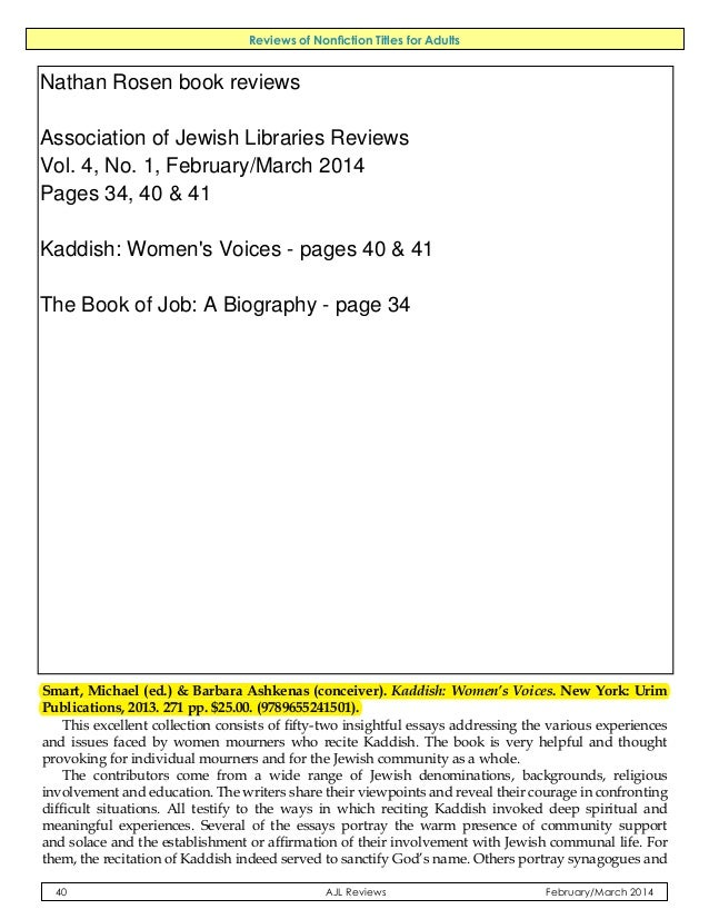 Reviews of Nonfiction Titles for Adults  process of Americanization, the present and future of Judaism, and occasionally t...