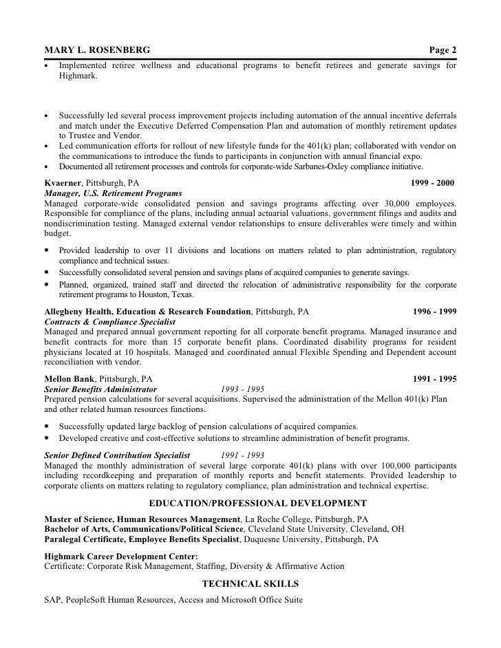 2 - Pensions Administration Sample Resume