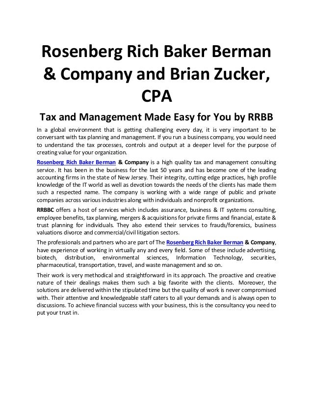 Rosenberg Rich Baker Berman & Company and Brian Zucker, CPA Tax and Management Made Easy for You by RRBB In a global envir...