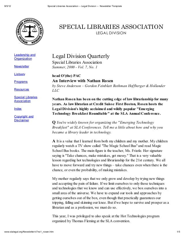 9/5/12                               Special Libraries Association -- Legal Division -- Newsletter Template               ...