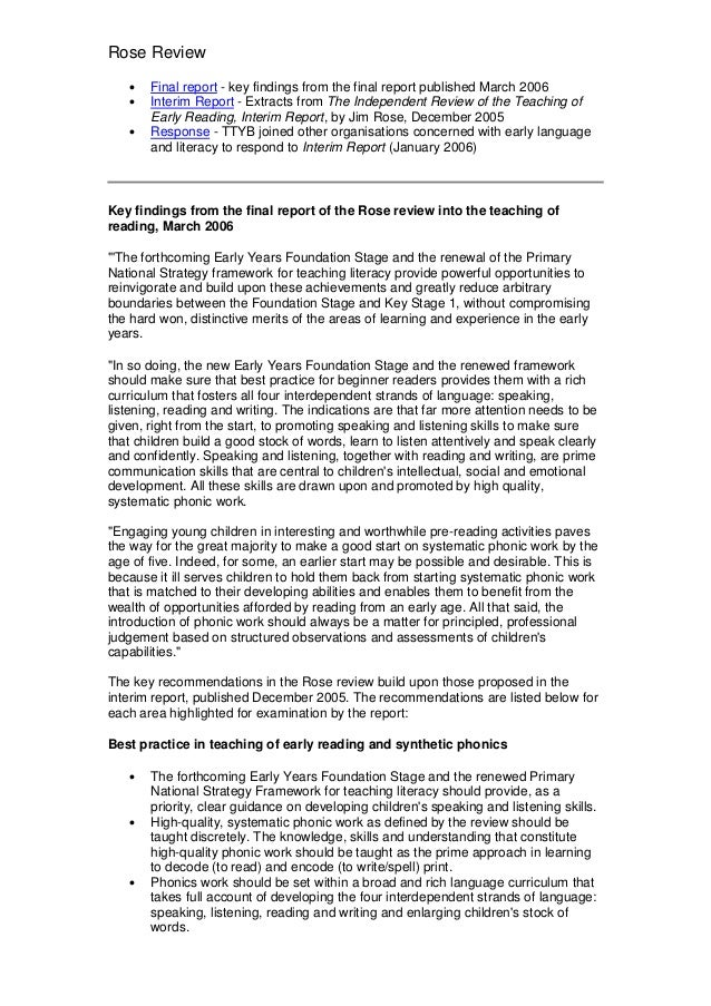 Rose Review   •   Final report - key findings from the final report published March 2006   •   Interim Report - Extracts f...